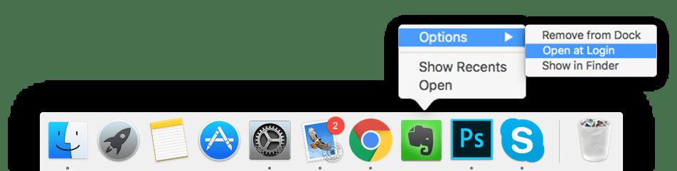 add programs on starup through doc panel on mac