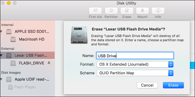 confirm disk utility how to format usb drive on mac