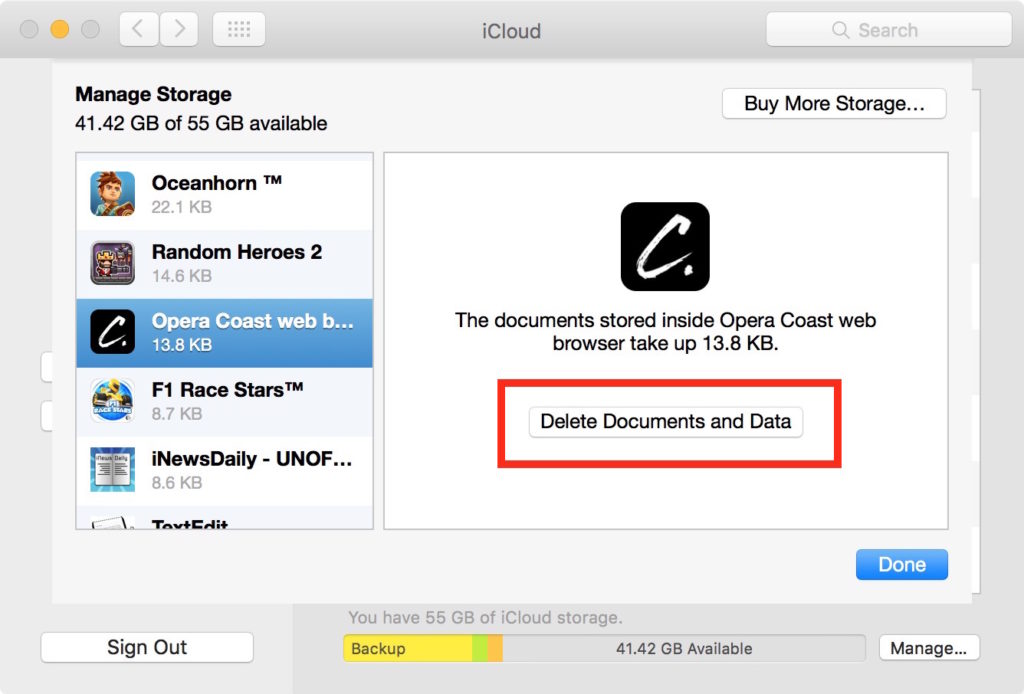 iphne how to delete documents and data