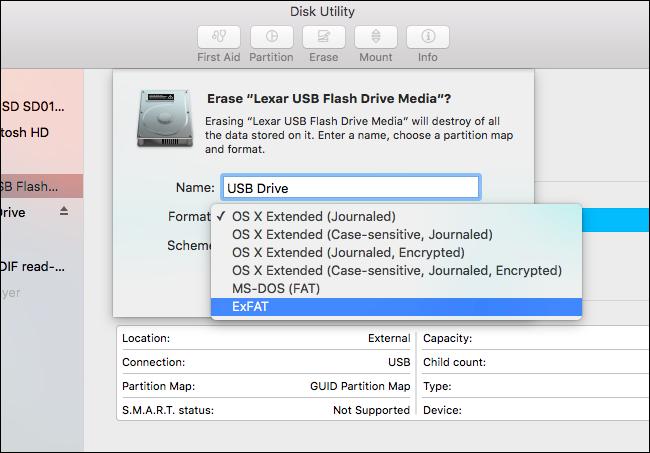 format a flash drive: ExFAT