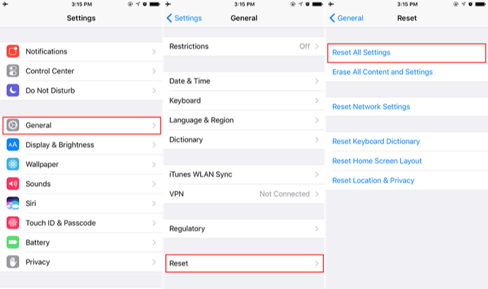 iPhone reset all setting