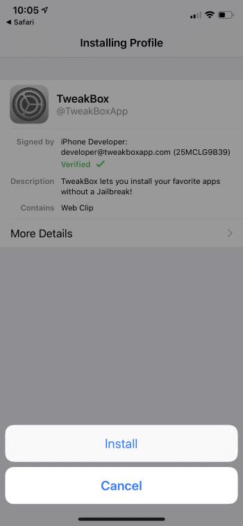 install tweakbox for iOS